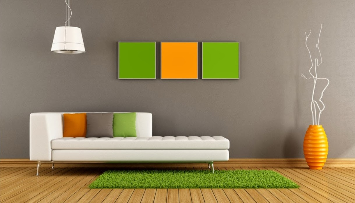 Elegant Gray Olympic Paint Premium Idea With Orange And Green Wall Palete  And White Luxurious Sofa