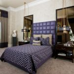 elegant-hanging-light-on-the-bedside-wooden-nightstand-with-tall-mirror-behind-also-dark-blue-and-grey-curtain-and-grey-carpet