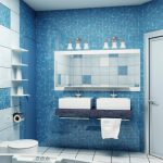 elegant-sea-themed-bathroom-with-blue-and-white-color-for-the-wall-and-white-color-for-the-door-bathtub-two-sinks-and-towel-and-mirrors