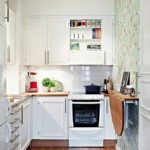 elegant-small-kitchen-with-remodeling-brown-drop-leaf-on-the-patterned-wall-surrounded-by-white-kitchen-furniture-like-white-cabinet-and-white-microwave-drawer