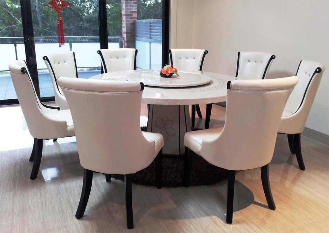 Granite Dining Table Set Flooding the Dining Room with  : elegant white round granite dining table set surrounded by white classy leather chairs with tufted accent plus sophisticated wood flooring and sliding glass door from homesfeed.com size 1074 x 762 jpeg 86kB
