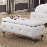 elegant white upholstered bench with storage beautified with tufted accent and silver short legs and cool rug for bedroom
