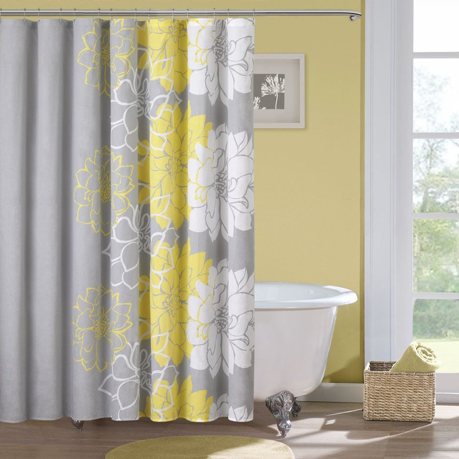 Endearing Bohemian Shower Curtain Design With Gray Yellow White Combination And Wall Paint