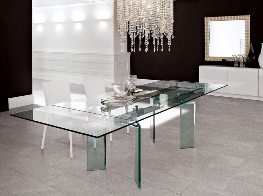Endearing Super Large All Glass Dining Table Design With Luxurious  Chandelier And White Modern Chairs And