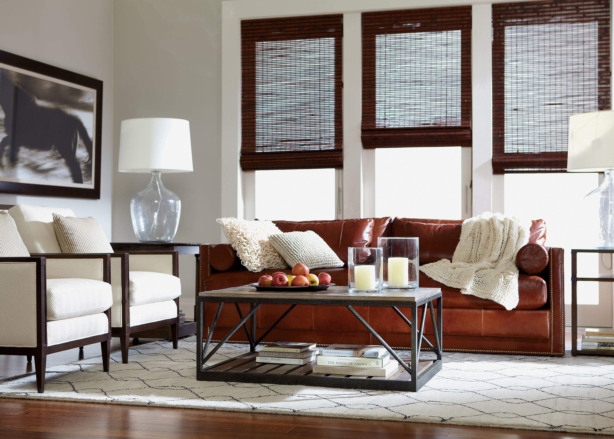 Ethan allen leather furniture for charming and comfortable for Leather sofa family room