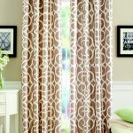 Exclusive Patterned Brown Home Garden Curtain Design With Creamy Wall Paint And Framed Photos And White Storage And Bench