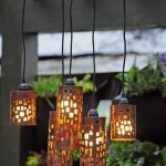 Exotic Lantern Style Cool Hanging Light Idea With Crafted Shade With Black Wire Suspension