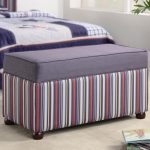 fancy and cute upholstered bench with storage for teenagers with stripped accents and short leg plus modern beige rug