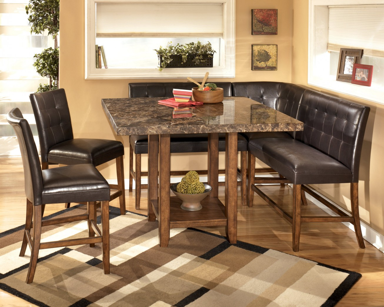 fascinating granite dining table set with rack underneath and sectional tufted leather chairs plus modern rug : sectional dining table - Sectionals, Sofas & Couches