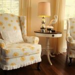 fascinating home decorating ideas with slip cover for chair with yellow motif and round side table with drawers and modern table lamp and solid harwood floor
