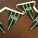 flag idea for super bowl party decoration idea with numbers of costum on wooden table