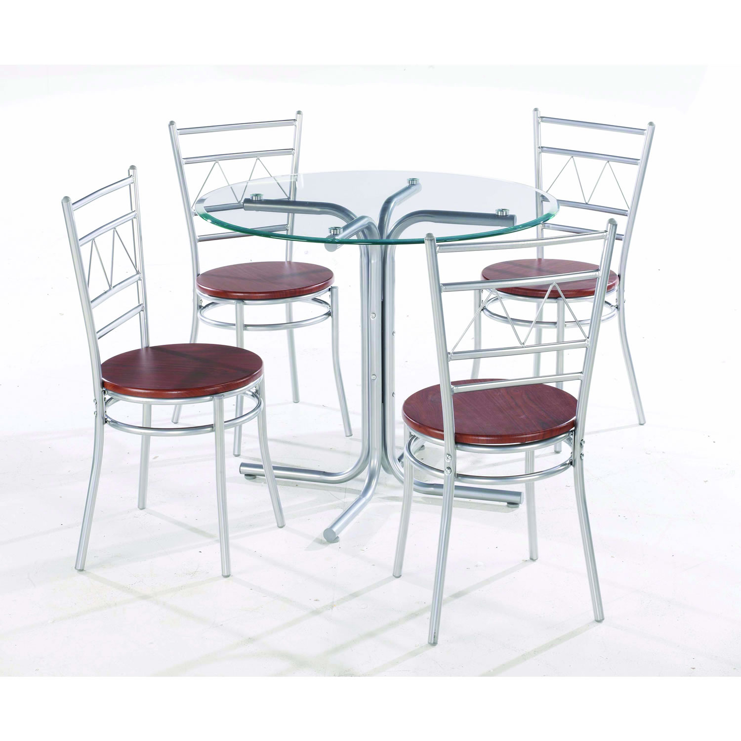 Round dining table set for 4 homesfeed for Glass dining table and chairs