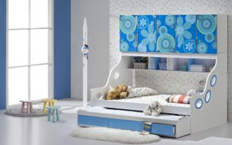fresh aquatic pop up trundle bed frame idea with gray accenta nd wallpaper and white sheepskin faux rug and glass window and small table and chair