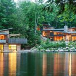 fresh forest home design aside lake with lush vegetation and pen concept with two storey