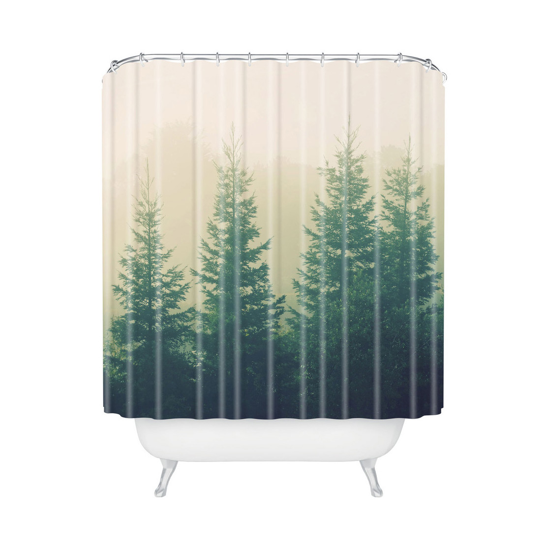 Fresh Green Nature Shower Curtain Design With Pine Tree Pattern On White Base Cloth