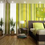 fresh green temporary wall covering dea with vertical stripe pattern and brown bedding and green pillows and wooden floor and glass window