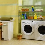 Fresh Green Yellow Laundry Room Design With Wall Racks And White Cabinet And Basket Shelves And White Flooring