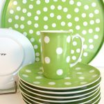 fresh look of polka dot dishes idea in green tone with white accent of plate and cup
