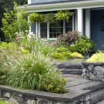 front yard landscape plans with plant and natural stone pot plus barn house