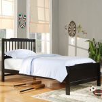 full size toddler bed for boy with black finishing plus white and blue bedding plus modern rug and wooden floor plus grey wall
