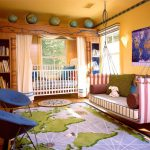 global-themed-bedroom-and-bright-blue-color-papasan-chairs-for-kids-with-bookshelf-near-toddler-bed-and-big-world-map