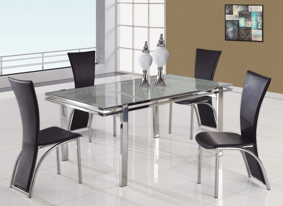 All glass dining table luxurious set for perfect dinner for Odd chairs around dining table