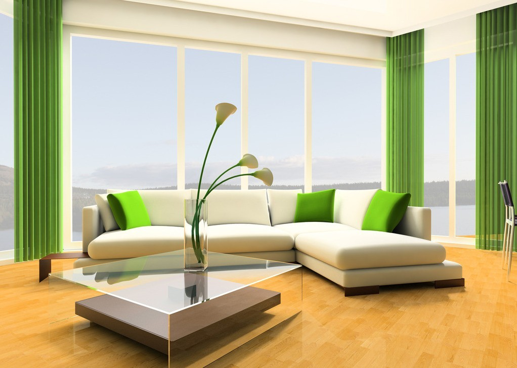 Gorgeous And Spacious Modern Ikea Living Room Idea With White Sofa And  Green Cushions And Curtain