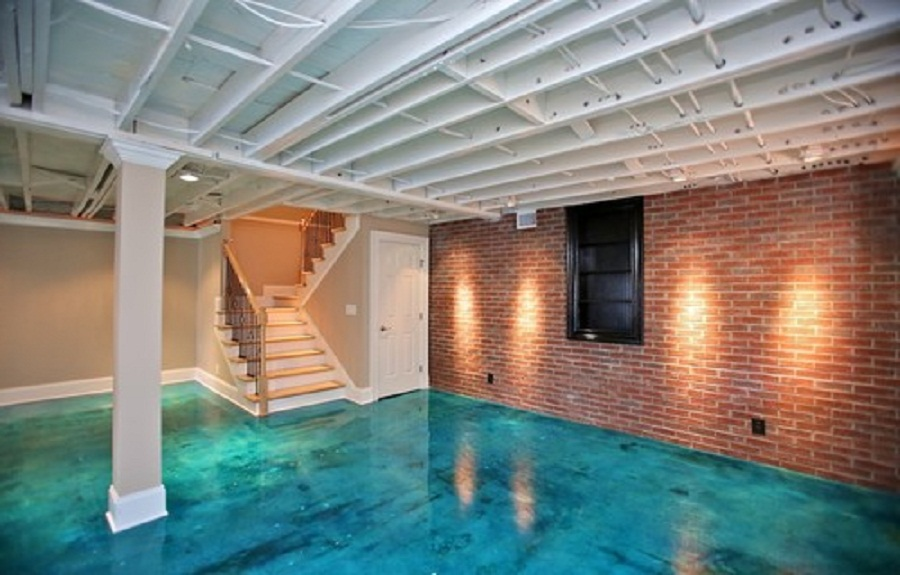 Gorgeous Aquatic Blue Painted Flooring Idea With Brick Wall And Stairs And  Exposed Wooden Ceiling And