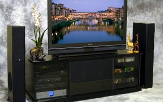 gorgeous black entertainment system furniture completed with media and  cd storage plus sound system
