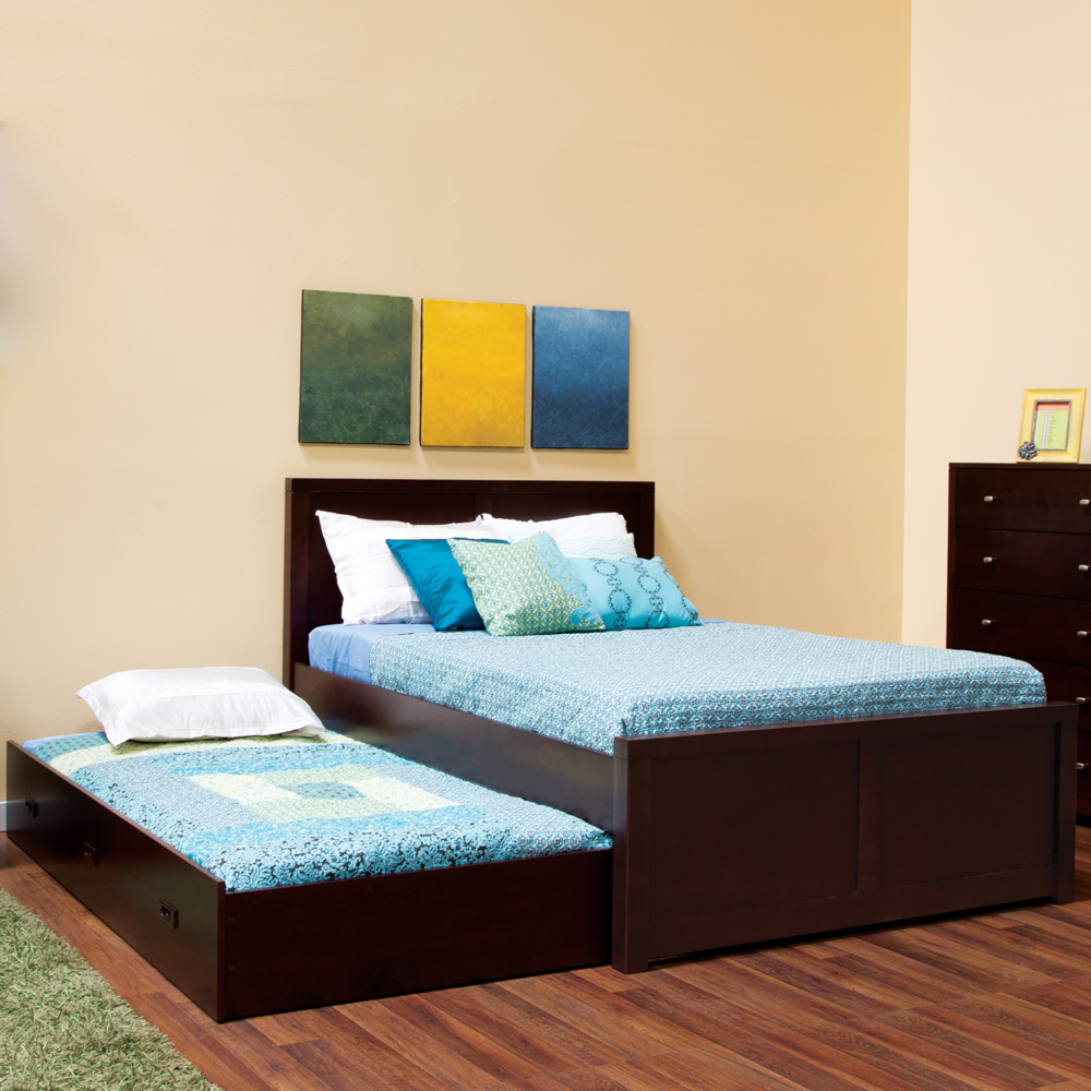 gorgeous black pop up trundle bed frame idea with soft blue bedding and wall palette and - Wooden Trundle Bed Frame