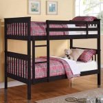 gorgeous black wooden low profile bunk bde idea iwth purple sheet and pillow and gray area rug and wooden floor