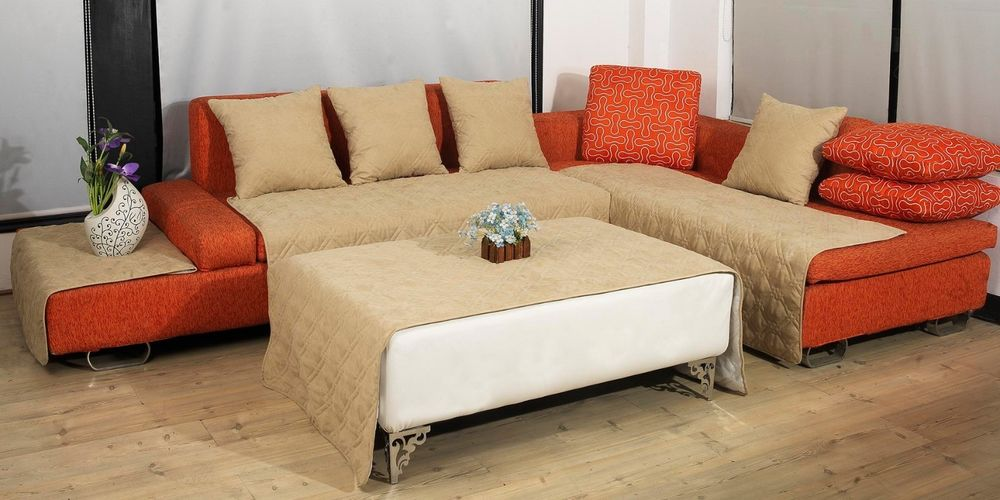 Gorgeous Cly Creamy Couch Cover For Sectional Idea With Orange Tone Accent And White Coffee Table