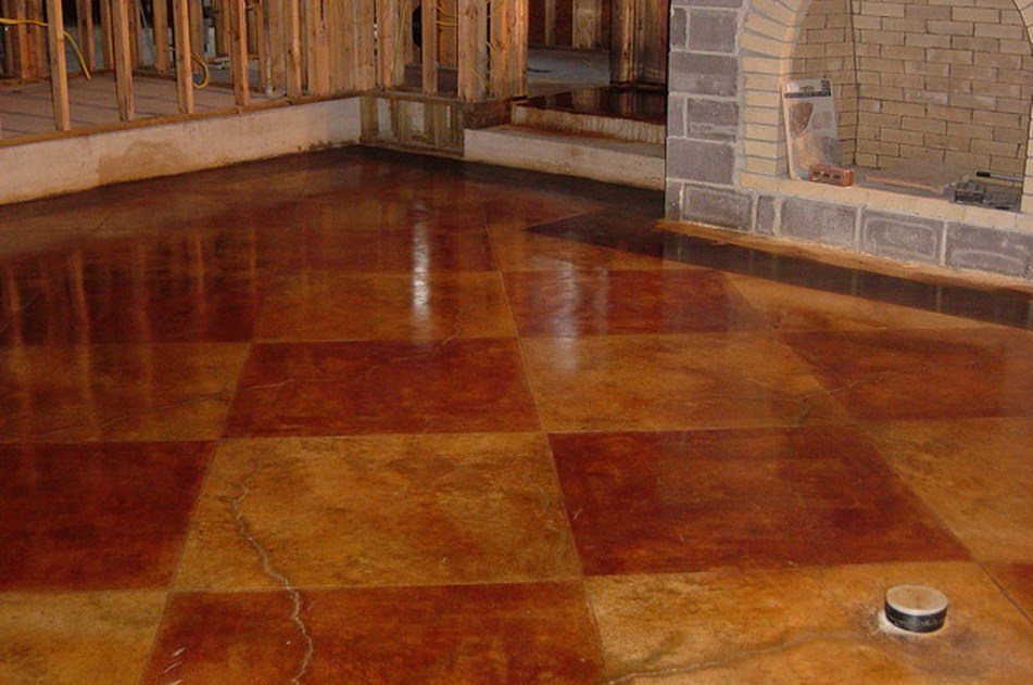 Interior with floor painting idea the nuance of for Stained concrete inside house