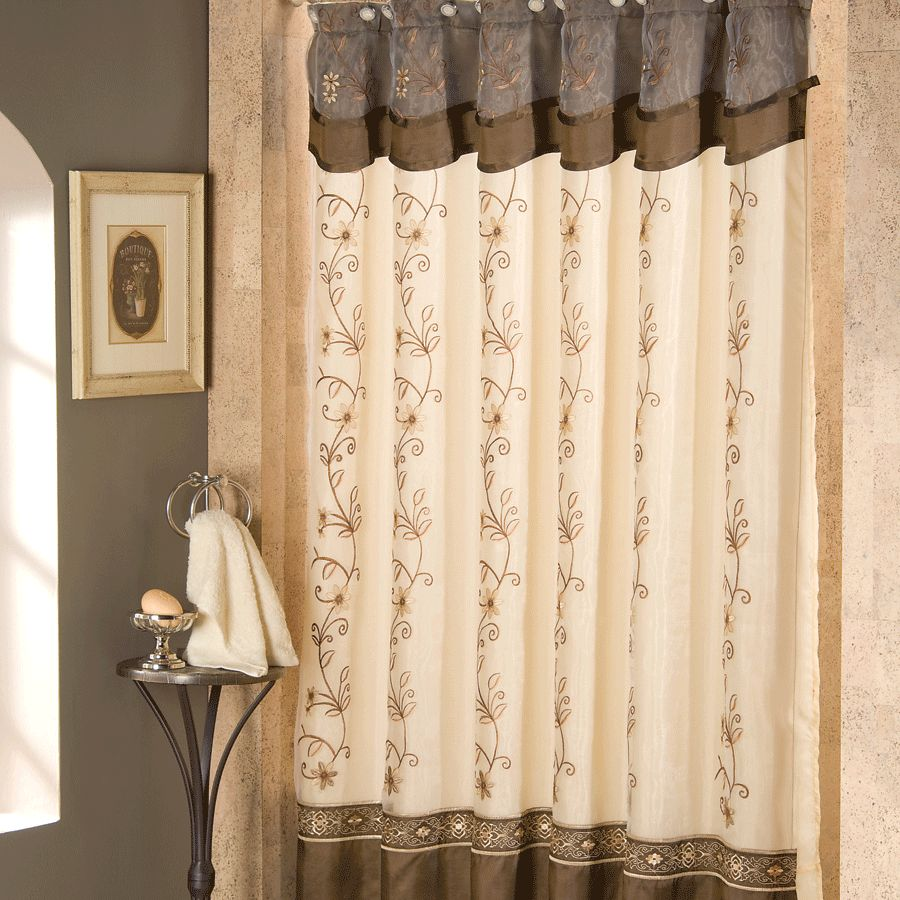 Gorgeous Gray Brown And White Patterned Art Deco Shower Curtain Design With  Gray Paint Wall And
