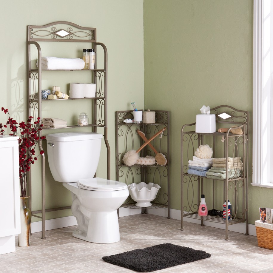 Gorgeous Gray Metal Towel Shelf Scrolled Idea In The Corner Room With White Toilet Seat And