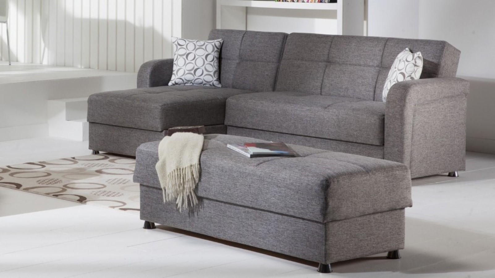 Gray sectional sofa with chaise luxurious furniture for Chaise and ottoman