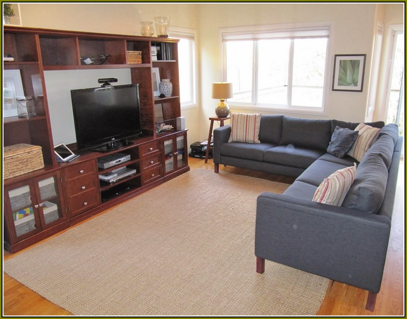 Gorgeous Navy Blue Sectional Sofa Deisgn With White Cushion And White Area  Rug And Wooden Tv