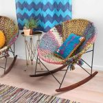 gorgeous unique ombre round rattan ikea rocking chair design with adorable tone and small round table and chevron blue curtain and ombre dyied rug