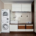 Gorgeous White Laundry Room Idea With Simple Basket Shelves And Small Tile Wall And Large Closet And Double Washing Machines And Wooden Floor