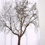 gorgeous white nature shower curtain design in white base with dried tree pattern on wooden floor