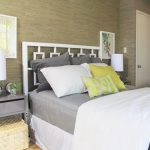 gray-floating-nightstand-ideas-with-rattan-basket-under-the-nightstand-and-white-table-lamp-aso-gray-white-and-yellow-pillows-on-the-bed