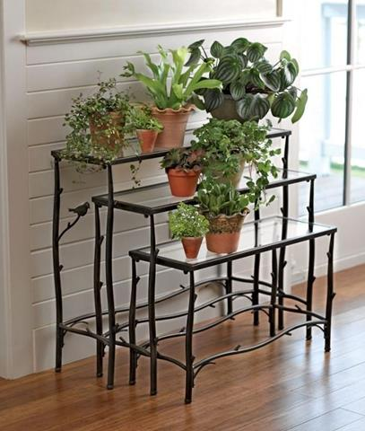 Great Indoor Plant Idea With Stairs Idea With Wrought Iron Stand With  Orange Pots With White