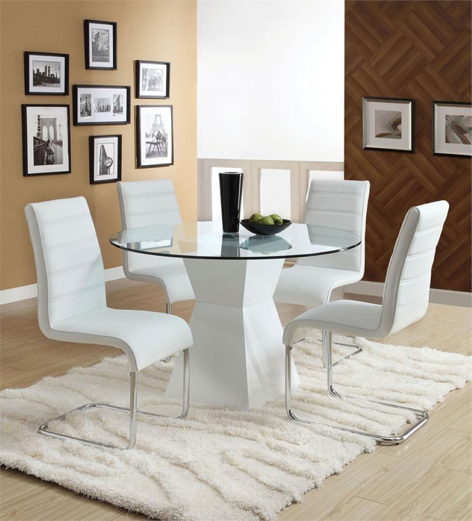 All Glass Dining Table Luxurious Set for Perfect Dinner  : great white all glass dining table idea with modern white chairs and white textured area rug and creamy wall paint and target frame photo from homesfeed.com size 960 x 1061 jpeg 175kB