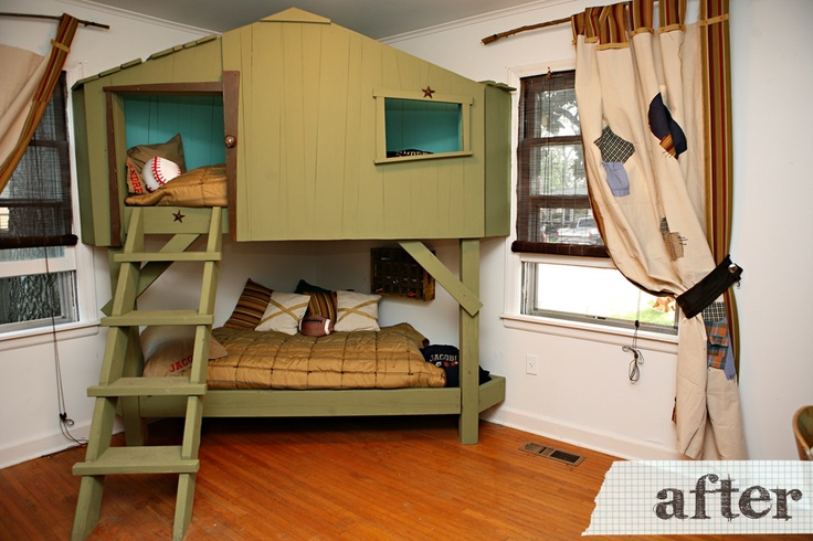 Green Tree House Bunk Bed Design With Ladder