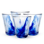 Handsome Set Of 4 Cobalt Blue Drinking Glasses For Home  Collection Designed By  Renowned Glass Makers  Bormioli Features Infused  Blue Swirls In The Clear Glass (2)