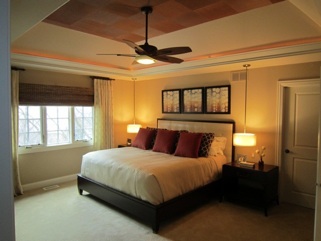 hanging bedisde lights and red pillows and white. Proper Hanging Lights for Bedroom   HomesFeed