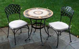 ikea bistro set for stunning patio with double comfy chairs and a round table