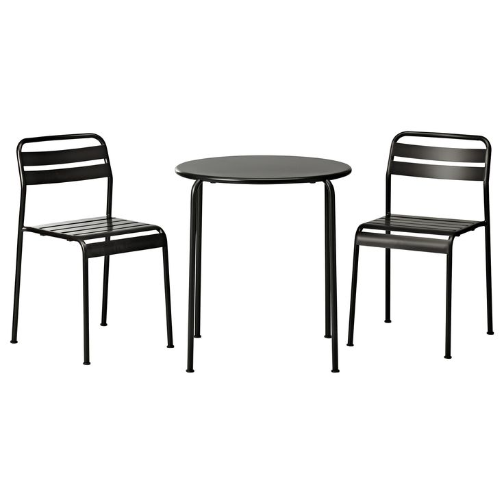 ikea bistro set with a round table and two chairs in black finishing