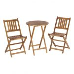 ikea bistro set with a round wooden folding table and two folding chairs
