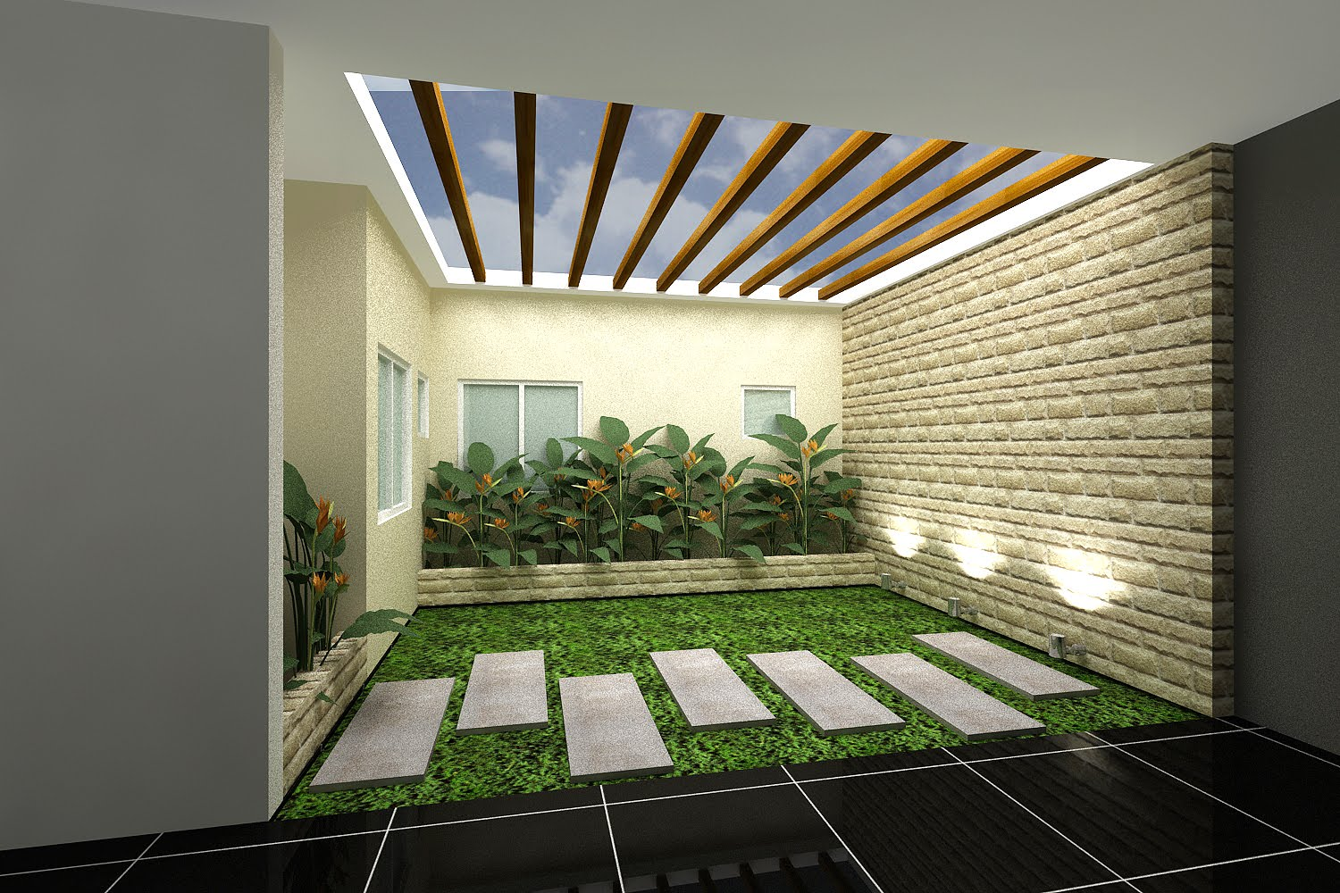 Indoor Courtyard Of Home And Garden Catalog Idea With Skylight And Concrete  Walkway And Grassy Meadow
